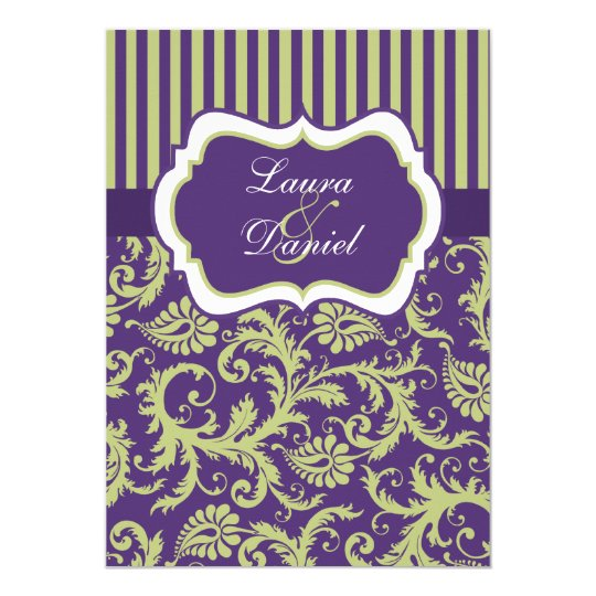 Purple, Green, and White Damask Wedding Invitation