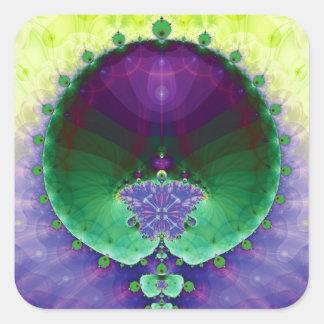 Purple Green and Yellow Mandelbrot Fractal Square Sticker