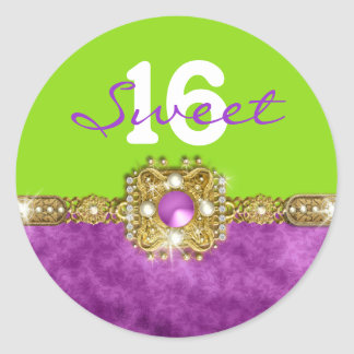 """Purple green """"any age"""" PERSONALIZE Round Sticker"""