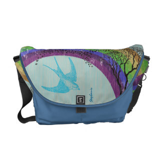 Purple Green Aqua Gold Rainbow Vintage Bird Bag Commuter Bag