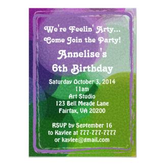 Purple Green Art Party Paint Dots Invitation