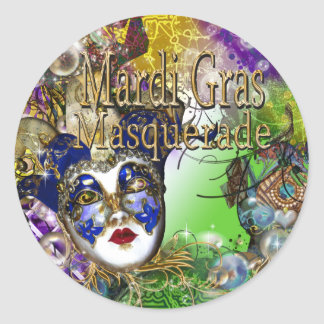 Purple green birthday masquerade mask round sticker