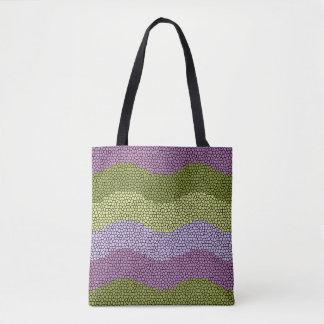 Purple, green, black mosaic tote