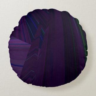 Purple, Green, Blue Fractals 3-D Pattern Round Pillow