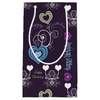 Purple/Green/Blue Hearts Gift Bag - Small, Glossy