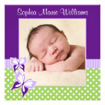 Purple Green Butterfly Photo Birth Announcement