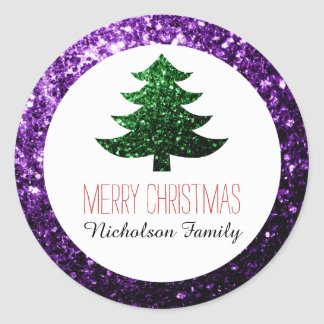Purple + Green Christmas tree sparkles Gift Tag Round Sticker