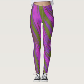 Purple Green  Color Swish Abstract Leggings
