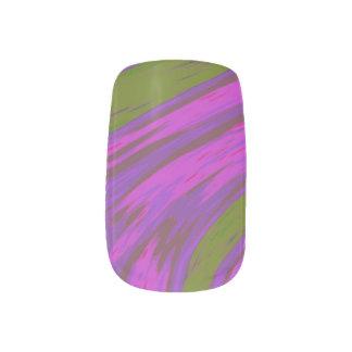 Purple Green Color Swish Minx Nail Art