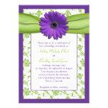 Purple Green Daisy Damask Wedding Invitation