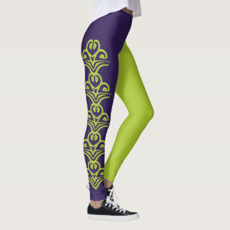 Purple & Green Deco Reversi Jester Leggings