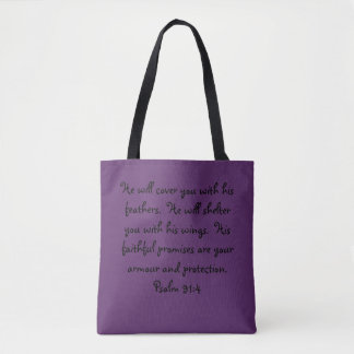 Purple & Green Feather Strength Tote Bag