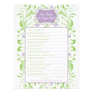 Purple Green Floral Bride Best Bridal Shower Game Personalized Letterhead
