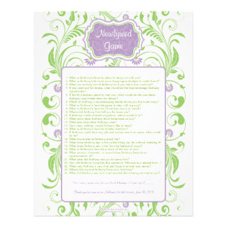 Purple Green Floral Newlywed Bridal Shower Game Personalized Letterhead