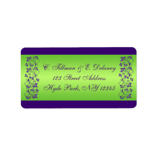 Purple, Green Floral Wedding Address Label 2