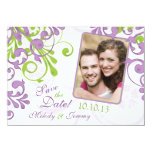 Purple Green Floral Wedding Photo Save the Date