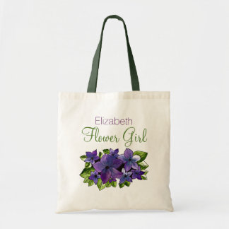 Purple Green Flower with Name Flower Girl Tote Bag
