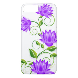 Purple & Green Flowers Illustration On White iPhone 7 Plus Case