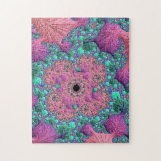 Purple-green fractal with black hole in middle jigsaw puzzle