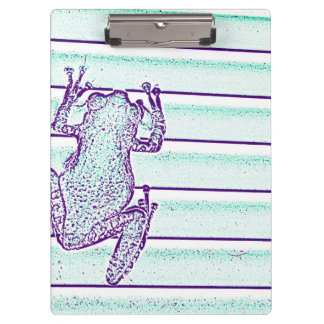 purple green frog design on stripes clipboard