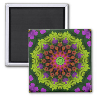Purple Green : Geometric Mandala Art Square Magnet