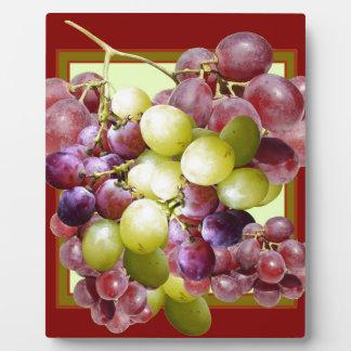 PURPLE & GREEN GRAPES VINEYARD  BURGUNDY WINE  art Plaque