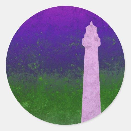 Purple Green Lighthouse Sky Digital Art Round Sticker