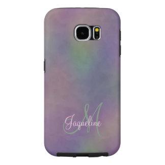 Purple Green Magenta Abstract Monogram Samsung Galaxy S6 Case