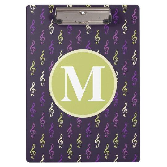 Purple Green Music Note Pattern Monogram Clipboards