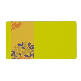 Purple Green Orange Leaves Shipping Label