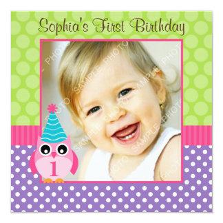 "Purple Green Owl Polka Dot 1st Birthday Girl Photo 5.25"" Square Invitation Card"