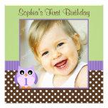 Purple Green Owl Polka Dot 1st Birthday Girl Photo Invites