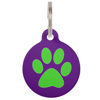 """Purple & Green"" Paw Print Pet ID Tag"