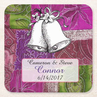 Purple Green  Personalized Wedding Bell Coasters