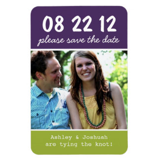 Purple & Green Photo Save The Date Magnet