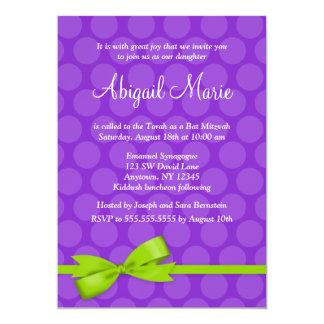 Purple Green Polka Dot Printed Bow Bat Mitzvah Card