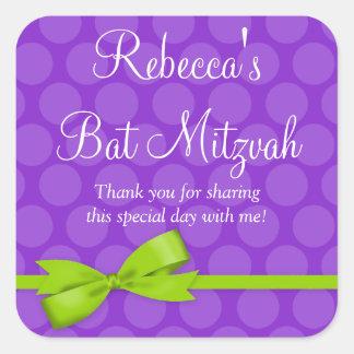 Purple Green Polka Dot Printed Bow Bat Mitzvah Square Sticker