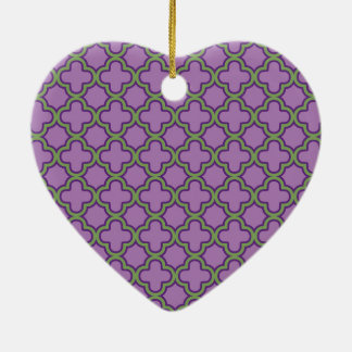 Purple & Green Quatrefoil French Classic Geometric Ceramic Heart Ornament