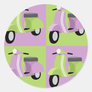 Purple & Green  Round Sticker