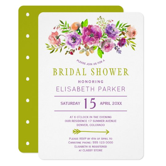 Purple green rustic bohemian floral bridal shower card
