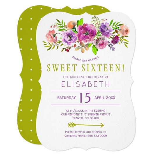Purple green rustic peony bohemian sweet 16 invite