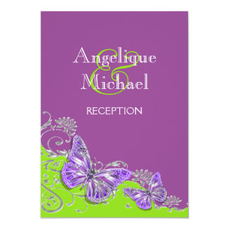"Purple green silver wedding engagement 5"" x 7"" invitation card"