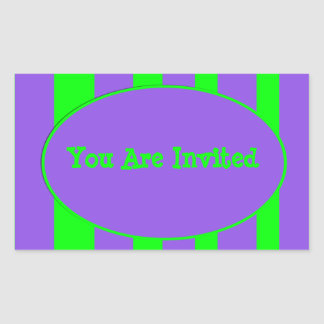 purple green stripe party rectangular sticker