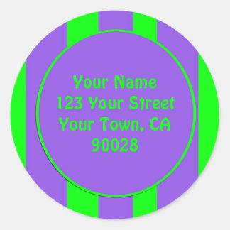purple green striped round sticker