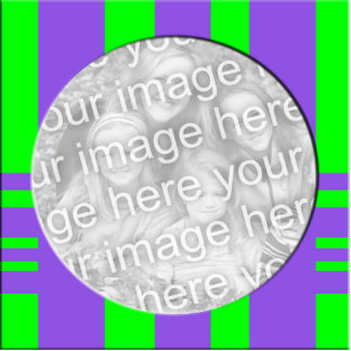 purple green stripes photo frame photo cut outs