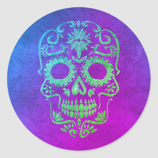 Purple & Green Sugar Skull/Day of the Dead Sticker