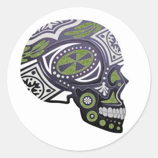 Purple Green Sugar Skull Skeleton Classic Round Sticker
