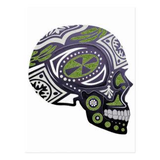 Purple Green Sugar Skull Skeleton Postcard