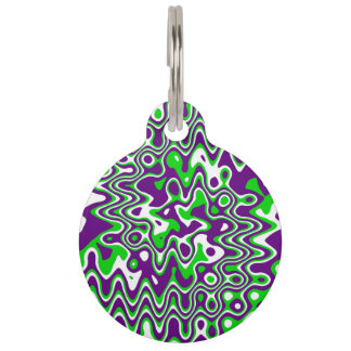 """Purple & Green"" Swirled Op-Art Pet ID Tag"