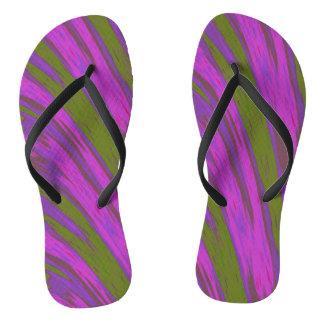 Purple Green Swish Design Flip Flops